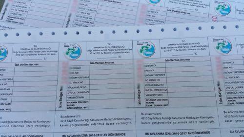 2016-2017 av sezonu avlanma izin karti